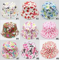Wholesale LJJD3759 Kids Sun Hats Children Caps Hats fashion visor ball cap Bucket hats kids girl boy summer beach sunhat cartoon cap sunbonnet