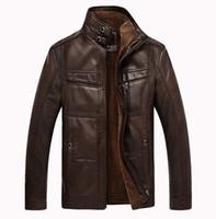 Wholesale Fall Winter new style men genuine leather big size jacket coat men motorcycle genuine leather Thicken keep warm jacket coat M XXXXL