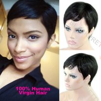 Wholesale Celebrity Cheap Pixie Cut Brazilian Human Hair Very Short Wig Natural Black Human None Lace Guleless Wig For Black Women Wigs