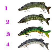 fishing hooks wholesale - 8 quot cm g Lifelike Multi jointed segement Pike Muskie Fishing Lure Swimbait Crankbait Hard Bait Fish Treble Hook Tackle Y0181
