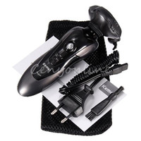 Wholesale Best Quality D Black Men Rechargeable Washable Cordless Rotary Electric Shaver Hair Mustache Razor Triple Blade Fast Clearing