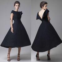 best modern art - Dark Blue Prom Dresses Tea Length Krikor Jabotian Hand Made Flower Bateau Neck Evening Dress Spring Best Selling Wedding Formal Party Gowns