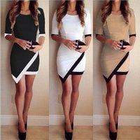 ladies casual wear - 2015 Fashion Women Casual Dress Bandage Bodycon Ladies Asymmetric Patchwork Dresses Work Wear Bestsellers Vestidos femininos G0916