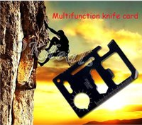 Wholesale 11 Multifunction Multi Mini Credit Card Survival Pocket Knife Saw Camping Tool