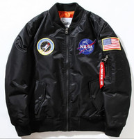 baseball worsted - NEW Flight Pilot Jacket Bomber Ma1 Jackets For Men Winter Jackets Nasa Air Force Jackets Embroidery Baseball Military Coats