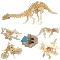 Wholesale Wood Craft Construction Kit Dinosaur Biplane Model Toy Gift D Wooden Puzzle