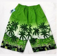beach vacations europe - 200PCS LJJL33 Europe Fashion Men s Sport Swimming Shorts Coconut Trees Printing Summer Beach Vacation Casure Trunks