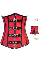Cheap Sexy Lingerie Red Goth Underbust Cupless Corselet Women Body Waist Training Corset Bustier Top 10 Full Steel Boned Corsets 4001