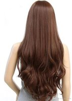 Wholesale 2015 new European and American ladies Brazilian Body Wave popular women long curly brown hair wig sexy hair wigs on sale