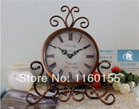 antique clock works - Novelty Europe Type Wrought Iron Palace Pastoral Table Clock