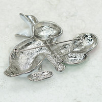 Wholesale Fashion Jewelry Brooches piece Clear Crystal Rhinestone Enamel Easter bunny Rabbit Pin Brooch C391 A