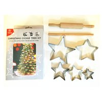 wooden base - Christmas cookie tree kit star cookie cutters wooden stem and base easy to make