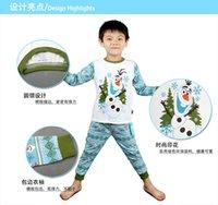 Boy Summer 2T-3T-4T-5T-6T-7T Frozen Olaf Pyjamas Long sleeve Boy Baby Pajamas Suit Baby Suit Pants + t-shirts Pyjamas Sets frozen pajamas sleepwear DHL shipping 240pcs