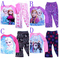 Boy Summer 2T-3T-4T-5T-6T-7T Direct Line Free Shipping Frozen Baby Girls 3Y-10Yrs Fleece Kids Pajamas Set Elsa Anna Princess Snow Queen Cotton 2Piece Suits Sleepwear DHL