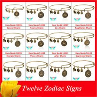 zodiac charms - Alex and Ani Bangle Gold Silver Twelve Constellations Charm Bracelet Europe and America Popular Alloy Ornaments