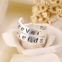Wholesale 2016 New Fashion Statement sterling silver rings Always Sister Forever Friend Letter Alloy Couple Rings For Women and Men ZJ