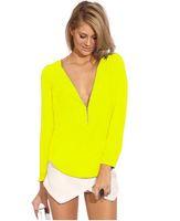 Wholesale Cheap Sexy Zipper Deep V Neck Shirt Long Sleeve Polyester Chiffon Women Blouse fro Spring
