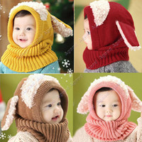 baby winter - Baby Boys Girls Children Knit Winter Warm hats Puppy Beanie Caps SV012641