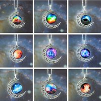 Wholesale Hot Sale Moon Necklace Jewelry Colorful Starry Glass Hollow Galaxy Moon Universe Gemstone Pendant Necklaces Silver Chain Style