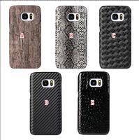 Para Iphone 6 6S Plus para Samsung Galaxy S7 / Edge / Plus serpiente tejida de fibra de carbono de madera Celular Fundas de cuero duro caso de la piel cubierta de madera