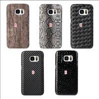 Precio de Snake skin-Para Iphone 7 / 7plus I7 / 6 6S / Plus para Samsung Galaxy S7 / Edge / Plus serpiente tejida de fibra de carbono de madera cubiertas de cuero duro caso de la piel cubierta de madera
