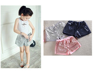 Wholesale 2016 Children Glittery Sequin Shorts Girls ruffle shorts outfit Performers pants