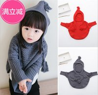 Wholesale 2015 Kids Girls Knit Hooded Sweaters Baby Girl Fall Batwing Pullover Girl Fashion Jumper Tops Childrens clothing Kids Clothes