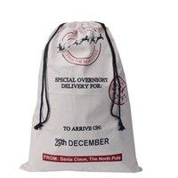 Wholesale Christmas Decorations New Xmas Drawstring Bag Large Canvas Santa Sack Elk Canvas drawstring Cartoon letter Cotton Bag red beige EMS A7235