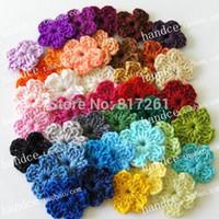 achat en gros de free appliques crochet fleurs-Livraison gratuite 100pic / lot crochet de coton coloré fleurs comme applique pour les vêtements de bricolage matériel fait à la main des fleurs tricotées
