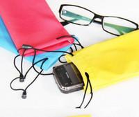 Wholesale Custom Design Print Logo sunglasses pouch eyeglasses bag glasses case many colors mixed Drawstring Eyeglasses Microfiber Soft Pouch Case