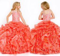 big beauty shop - Buy Orange Big Ball Gown Puffy Spaghetti Beads Sweep Train Organza Ruffles Girls Beauty Pageant Dresses Online Shop
