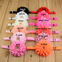Wholesale 20pcs Lace Chiffon Flower Headbands Rose Diamond Silk Bowknot Baby Hair Band Headwear Children Satin Ribbon Hair Bows Hair Accessories