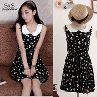 asian dress pattern - women summer dress lady Cute Sleeveles Doll Collar Dress Slim One piece Floral Vest Dress Patterns Asian