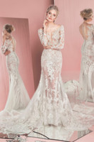 Wholesale New Zuhair Murad Wedding Dresses Formal Sexy Lace Vintage Mermaid Wedding Dress Long Sleeve Tulle Sheer Skirts Illusion Bodice Wediding Gown