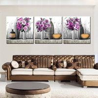 abstract displays - 3 Pieces Modern Painting Art Picture Paint on Canvas Prints potted flower Pot abstract pot fish for display rose tulips chinese characters