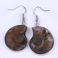 ammonite earrings - Pair Charm Silver Plated Natural Ammonite Fossil Stone Hook Dangle Earring Pendat jewelry And Jewelry finding