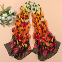 Wholesale 2015 Fashion Women Chiffon Dots Printed Scarves Autumn Gradient Casual Silk Scarves Long Wrap Pashminas Scarves