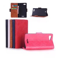 plastic card holder - Oil skin Cover Wallet Purse Leather Card Cases Stand Holder Hard Plastic Case For Sony Ericsson C3 E3 M2 T2 T3 Z1 Z2 Z3 Compact