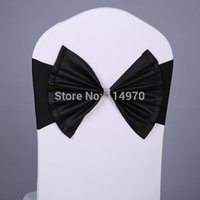 Cheap Wholesale-Free shipping 100pcs Black Elastic Lycra Chair Sash Spandex Chair Cover Band With Polyester Bow For Wedding Chair Cover