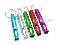 Wholesale cm High strength Ultralight Multi color available Aluminum Survival whistle with key ring TSJ