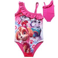 Wholesale Children one piece bikini Paw dog baby girl swimsuit summer girl s beach wear children tutu skirt bathing suit kids cartoon swimwear