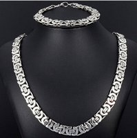 african jewlery - New Style Jewlery Set mm Silver Tone Flat byzantine chain necklace bracelet L Stainless Steel Bling for Fashion mens XMAS Gift jewelry