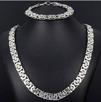al por mayor jewlery regalo-Nuevo estilo Jewlery Set tono de plata pulsera collar de cadena bizantina plana 8mm 316L Bling de acero inoxidable para la moda para hombre de la joyería de regalo de Navidad