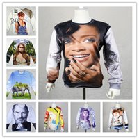 Wholesale Alisister winter fashion women rihanna sweatshirt d printed panda elephant Lana Del Rey space clothes character hoodies