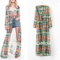 abstract bow ties - new design Abstract tie dye printing Chiffon long sleeved cardigan Jumpsuit skirt mopping dress