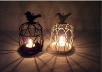 Wholesale European Style Metal Candle Holder Candlestick Decorative Bird Cages Wedding Candle Stand for Home Decoration