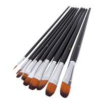 achat en gros de artiste peinture acrylique set-Nylon Hair Paint Brush Set Filbert tête de bois Handle artistes Gouache aquarelle acrylique pinceaux Art fournitures 9pcs / set H14891