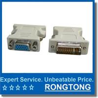 Wholesale DVI DVI I Male Pin to VGA Female Video Converter Adapter M F LCD HDTV Computer Connectors