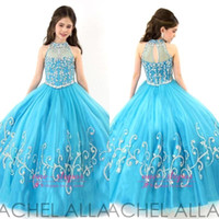 Wholesale RACHEL ALLAN Girls Pageant Dresses Sheer High Neck Beaded Crystal Sleeveless Ball Gown Turquoise Tulle Flower Girl Dresses