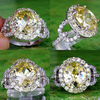 white topaz - New Yellow Oval Cut Morganite White Topaz Gems K Platinum Plated Ring Size For Women